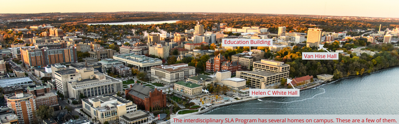 aerial view of campus facing southwest